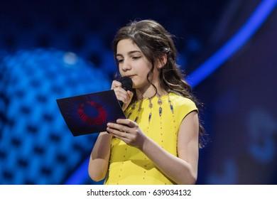 KYIV, UKRAINE - MAY 12, 2017: Winner of Junior Eurovision 2016 Mariam Mamadashvili at the grand final rehearsal during Eurovision Song Contest, in Kyiv, Ukraine