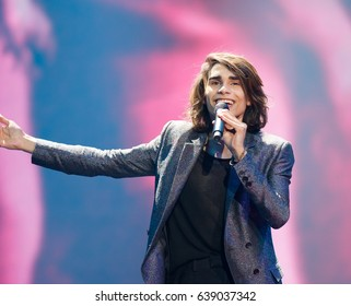 KYIV, UKRAINE - MAY 12, 2017: Isaiah of Australia at ESC (EUROVISION) Eurovision Song Contest 2017 during Final dress rehearsal