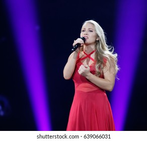 KYIV, UKRAINE - MAY 12, 2017: Anja of Denmark at ESC (EUROVISION) Eurovision Song Contest 2017 during Final dress rehearsal