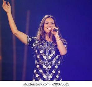 KYIV, UKRAINE - MAY 12, 2017: Alma of France at ESC (EUROVISION) Eurovision Song Contest 2017 during Final dress rehearsal