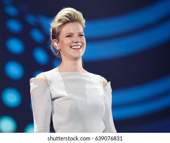 KYIV, UKRAINE - MAY 12, 2017: Levina of Germany at ESC (EUROVISION) Eurovision Song Contest 2017 during Final dress rehearsal