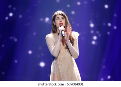 KYIV, UKRAINE - MAY 12, 2017: Demy of Greece at ESC (EUROVISION) Eurovision Song Contest 2017 during Final dress rehearsal