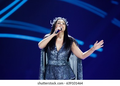 KYIV, UKRAINE - MAY 12, 2017: Jamala of Ukraine at ESC (EUROVISION) Eurovision Song Contest 2017 during Final dress rehearsal