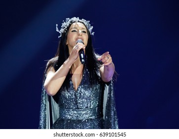 KYIV, UKRAINE - MAY 12, 2017: Jamala of Ukraine at ESC (EUROVISION) Eurovision Song Contest 2017 during Final dress rehearsal