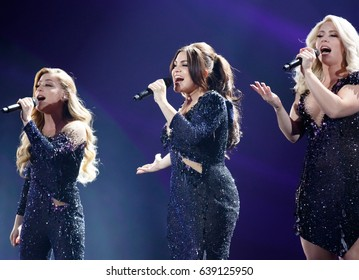 KYIV, UKRAINE - MAY 12, 2017: OG3NE of Netherlands at ESC (EUROVISION) Eurovision Song Contest 2017 during Final dress rehearsal