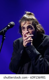 KYIV, UKRAINE - MAY 12, 2017: Salvador Sobral of Portugal at ESC (EUROVISION) Eurovision Song Contest 2017 during Final dress rehearsal