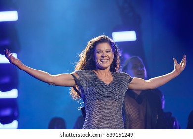 KYIV, UKRAINE - MAY 12, 2017: Ruslana of Ukraine at ESC (EUROVISION) Eurovision Song Contest 2017 during Final dress rehearsal