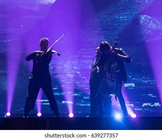 KYIV, UKRAINE - MAY 12, 2017: Jacques Houdek from Croatia at the grand final rehearsal during Eurovision Song Contest, in Kyiv, Ukraine