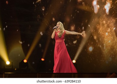 KYIV, UKRAINE - MAY 12, 2017: Anja from Denmark at the grand final rehearsal during Eurovision Song Contest, in Kyiv, Ukraine