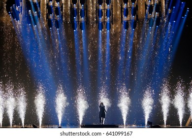 KYIV, UKRAINE - MAY 12, 2017: Isaiah Firebrace from Australia at the Grand Final rehearsal during Eurovision Song Contest, in Kyiv, Ukraine