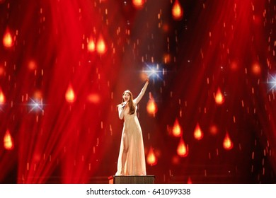 KYIV, UKRAINE - MAY 12, 2017: Demy from Greece at the Grand Final rehearsal during Eurovision Song Contest, in Kyiv, Ukraine