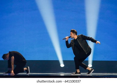 KYIV, UKRAINE - MAY 12, 2017:  Hovig from Cyprus at the Grand Final rehearsal during Eurovision Song Contest, in Kyiv, Ukraine