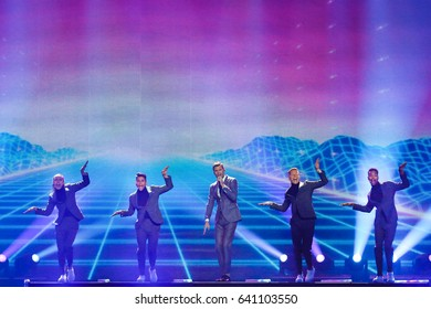 KYIV, UKRAINE - MAY 12, 2017:   Robin Bengtsson from Sweden at the Grand Final rehearsal during Eurovision Song Contest, in Kyiv, Ukraine