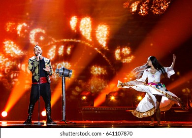 KYIV, UKRAINE - MAY 12, 2017: Joci Papai from Hungary at the Grand Final rehearsal during Eurovision Song Contest, in Kyiv, Ukraine