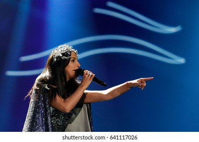 KYIV, UKRAINE - MAY 12, 2017:   Jamala from Ukraine at the Grand Final rehearsal during Eurovision Song Contest, in Kyiv, Ukraine