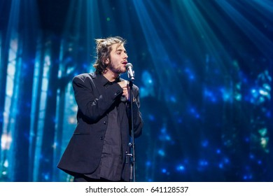 KYIV, UKRAINE - MAY 12, 2017:  Salvador Sobral from Portugal at the Grand Final rehearsal during Eurovision Song Contest, in Kyiv, Ukraine