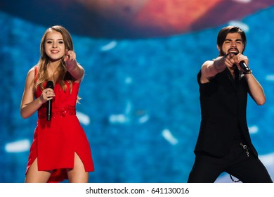 KYIV, UKRAINE - MAY 12, 2017: Ilinca & Alex Florea from Romania at the Grand Final rehearsal during Eurovision Song Contest, in Kyiv, Ukraine