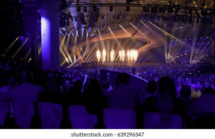 KYIV, UKRAINE - MAY 13, 2017: A view of main stage of ESC (EUROVISION) Eurovision Song Contest 2017