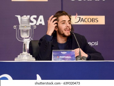 KYIV, UKRAINE - MAY 13, 2017: The winner of the Eurovision Song Contest Salvador Sobral from Portugal communicates with journalists at a press conference.