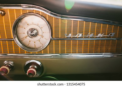 KYIV, UKRAINE - MAY 14, 2015: Closeup view of details of old vintage ussr automobile Chaika.