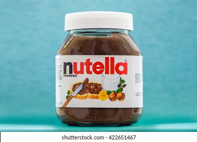 Kyiv, Ukraine - May 14th, 2016: Jar of Nutella Hazelnut on a bokeh background. Nutella is the brand name of a chocolate hazelnut