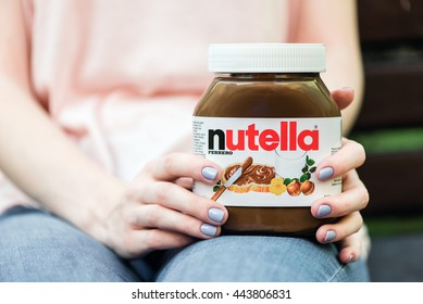 Kyiv, Ukraine - May 14th, 2016: Jar of Nutella Hazelnut. Nutella is the brand name of a chocolate hazelnut