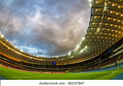 KYIV, UKRAINE - MAY 17: Panoramic view of Olympic stadium (NSC Olimpiysky) during Ukrainian Premier League game between FC Dynamo Kyiv and FC Dnipro Dnipropetrovsk on May 17, 2015 in Kyiv, Ukraine