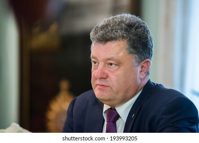 KYIV, UKRAINE - MAY 19, 2014: Most rating Ukrainian presidential candidate, ukrainian politician, businessman and millionaire Petro Poroshenko during a election meeting in Kyiv.