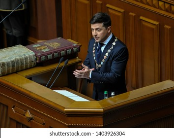 KYIV, UKRAINE- May 20, 2019: New Ukrainian president Volodymyr Zelensky gives a speech during his inauguration ceremony in the Ukrainian parliament.