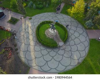 Kyiv, Ukraine, May 2021. Monument to Hetman Petr Sagaidachny on Kontraktova Square. Aerial drone view.