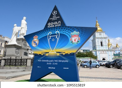KYIV, UKRAINE - MAY 21 2018: Symbols of the Final of the UEFA Champions League in Kiev. Kyiv prepares to host the UEFA Champions League final match between Real Madrid and Liverpool at NSC Olympic
