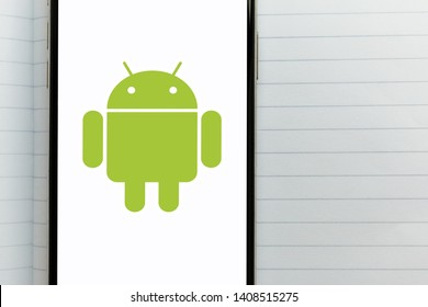 Kyiv, Ukraine – May 21, 2019: Android operating system logo on a screen of the new modern smartphone. Google has more control over Android