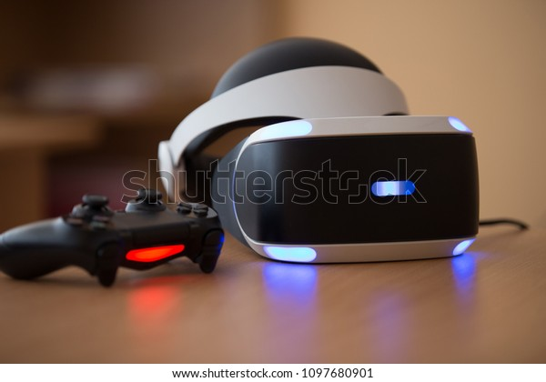 Kyiv, Ukraine. MAY 21st, 2018: Playstation VR Headset Unit for Virtual Reality Gaming with Sony Playstation 4 Games Console. Digital technology lifestyle concept