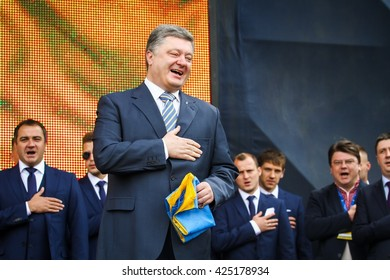 KYIV, UKRAINE - MAY 22, 2016 : President of Ukraine Petro Poroshenko sings national anthem at the ceremony of the Departure of the National Football Team of Ukraine for the European Championship 2016