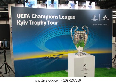 Kyiv, Ukraine May 22 , 2018 : UEFA Champions League cup on trophy tour before Champions League final in Kyiv 26.05.2018