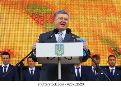 KYIV, UKRAINE - MAY 22,2016: Expressive speech by the President of Ukraine Petro Poroshenko at the ceremony of the Departure of the National Football Team of Ukraine for the European Championship 2016