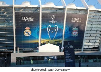 Kyiv, Ukraine. May 23 2018. Stadium Olymiysky - preparations before final of UEFA Champions League