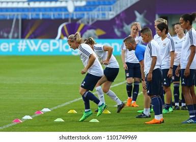 KYIV, UKRAINE - MAY 23, 2018: Olympique Lyonnais players in action during training session before UEFA Women's Champions League Final 2018 game against VfL Wolfsburg at Valeriy Lobanovskiy Stadium