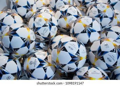 Kyiv, Ukraine - May 24 2018 : UEFA Champions league ball 2018 on sale