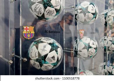Kyiv, Ukraine- May 24, 2018: Balls with logo UEFA Champions League in Champions Gallery (Kyiv Fanzone)