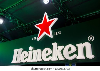 Kyiv, Ukraine- May 24, 2018: Heineken signboard.