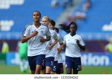 KYIV, UKRAINE - MAY 24, 2018: Olympique Lyonnais Feminin training. Wendie Renard close-up portrait running at warm-up. UEFA Women's Champions League final Wolfsburg-Lyon
