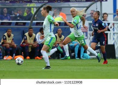 KYIV, UKRAINE - MAY 24, 2018: Pernille Harder running and dribbling with ball very fast, furious and beautiful. UEFA Women's Champions League final Wolfsburg-Lyon