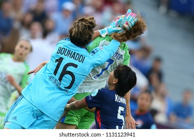KYIV, UKRAINE - MAY 24, 2018: Sarah Bouhaddi clears the ball. Dramatic collision with Sara Bjork Gunnarsdottir. UEFA Women's Champions League final Wolfsburg-Lyon