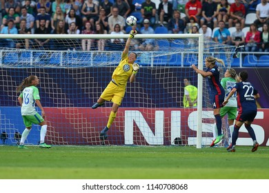 KYIV, UKRAINE - MAY 24, 2018: Goalkeeper Almuth Schult in action clearing the cross pass. UEFA Women's Champions League final Wolfsburg-Lyon