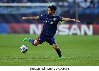 KYIV, UKRAINE - MAY 24, 2018: Saki Kumagai runs and dribbles with the ball. UEFA Women's Champions League final Wolfsburg-Lyon