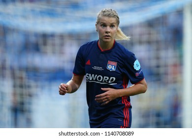 KYIV, UKRAINE - MAY 24, 2018: Ada Hegerberg close-up portrait in action. UEFA Women's Champions League final Wolfsburg-Lyon