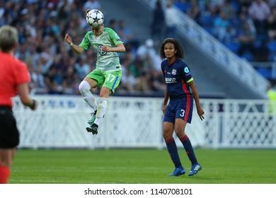 KYIV, UKRAINE - MAY 24, 2018: Ewa Pajor marked by Wendie Renard performs impressive beautiful header. UEFA Women's Champions League final Wolfsburg-Lyon