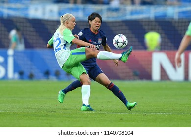 KYIV, UKRAINE - MAY 24, 2018: Battle between Pernille Harder and Saki Kumagai. UEFA Women's Champions League final Wolfsburg-Lyon