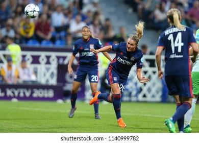 KYIV, UKRAINE - MAY 24, 2018: Spectacular, powerful beautiful header by striker Amandine Henry. UEFA Women's Champions League final Wolfsburg-Lyon